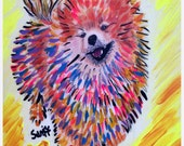 Pomeranian Dog Art 8 x 10 Print Poster of Painting Signed by Char Swift