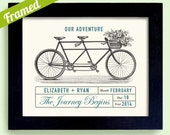 Unique Personalized Engagement or Wedding Gift Framed Wedding Adventure Decor Gift for Couples Bicycle for Two Bridal Shower
