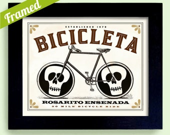 Bicycle Art Framed Bike Print Cycling Art Rosarito Ensenada Mexican Cyclist Race Art Day of the Dead