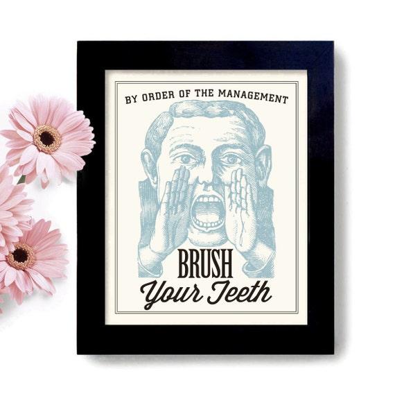 Wall Art For Dental Office : Bathroom decor childrens bath brush your teeth dentist by
