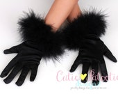 Curious Cuddles - Black  - Fur Trimmed Satin Wrist Gloves - Cat or Kitten Halloween Costume Accessory - Fits 4-7 Years