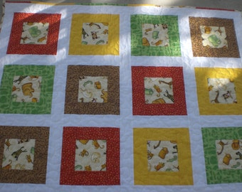 Baby quilt with zoo animals