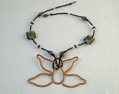 Copper Butterfly Pendant / Eye Glasses Holder with black, slate blue, and copper beaded necklace