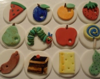 Very Hungry Caterpillar Fondant Cupcake Toppers