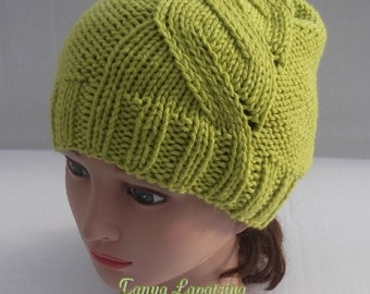 Instant Download Cable Swirl Hat PDF Pattern.