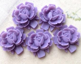 16 mm Lavender Colour Rose Resin Flower Cabochons (.sh)