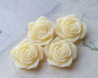 19 mm Flat Back Milky Yellow Color Rose Resin Flower Cabochons (.am)(ZZB)