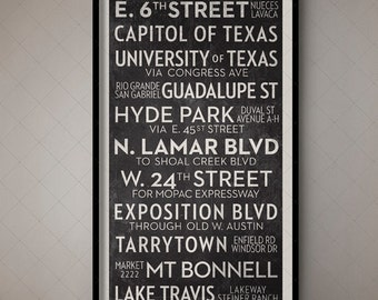 Austin Texas Vintage Subway Sign, Retro Roll Sign, Bus List, Destination List, Tram Sign, Train Blind, Train List, Train Stops, Texas Decor