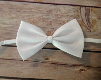 Solid Satin Bow Tie - White