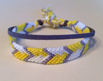 Yellow, White & Grey Chevron - with Grey Suede - Friendship Bracelet