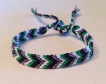 Grey, White, Black & Green - Chevron Friendship Bracelet