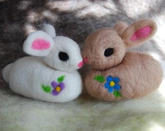 Easter Bunny, Jumbo Needle Felted Bunny, Plushy, Handmade, Super Soft Rabbit, Felt Bunny