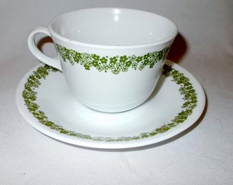 Corelle Spring Blossom Teacups Crazy Daisy Vintage Corelle Cup Saucer Set of Four Corning Ware Kitchen Glassware