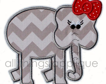 Girly Elephant Applique Design - INSTANT DOWNLOAD