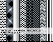 Black and Gray clip art chevron frame digital paper clipart, Chevron clipart silver and black digital paper set : p0218 3s4849 IP