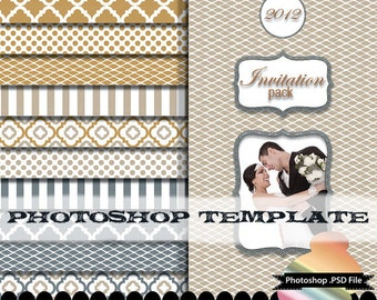 Photoshop template shapes psd format photo cards digital paper invitations : p0207 psd format