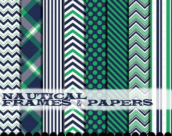 Chevron clipart kelly green navy blue digital paper set clip art frames printable background : p0218 3s2026 IP