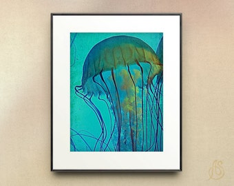 Jellyfish Print // Teal Water // Sea Creature // Ocean Wildlife // Fine Art Photography // 5x7 8x10 8x12 11x14