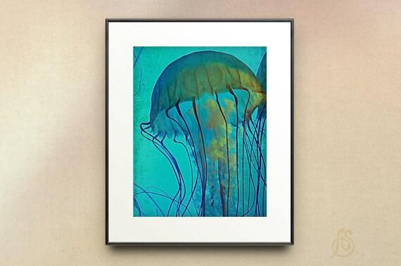 Jellyfish Print // Teal Water // Sea Creature // Ocean Wildlife // Fine Art Photography // 5x7 8x10 8x12 11x14