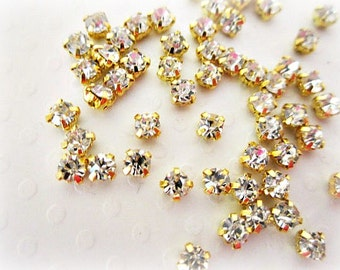 2mm Sew on Glass Rhinestones . Gold Colored Settings.  50 or 200 pcs