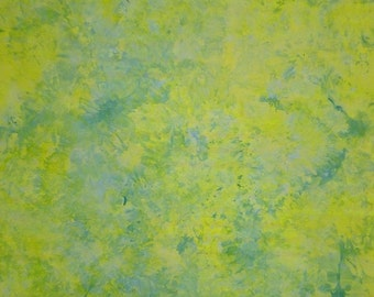 Hand Dyed Quilt Cotton Fabric, Lemon, Lime and Blue Skies Ahead!, 1 Yard (LS) #145