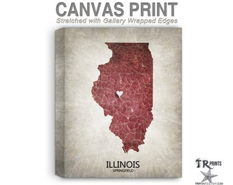 Illinois Map Stretched Canvas Print - Home Is Where The Heart Is Love Map - Original Personalized Map Print on Canvas