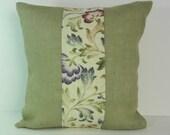 Olive Green Burlap Decorative Throw Pillow, 16 x 16