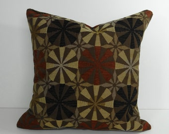 Decorative Pinwheel Pillow Cover in Brown, Tan and Black 16x16, Cushion Cover