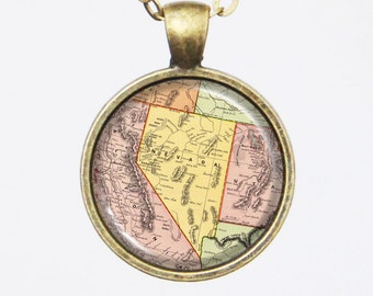 Nevada, Custom Map Necklace- Antique Map of Nevada, Old Map Series