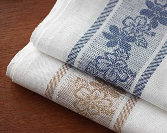 Set of 8 Jacquard halflinen tea-towels white blue