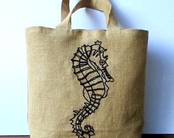 Seahorse summer tote bag, handmade jute beach bag,Casual Tote Bag,hand embroidered