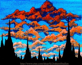 8x10 Photographic Print DESERT SUNRISE  from Original Painting by K Graham Spires of Stone Orange and Red Clouds Blue Sky