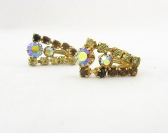Antique Signed Continental Earrings // AB Rhinestone Drop Earrings // Vintage Costume Jewelry // Aurora Borealis Continental Earrings