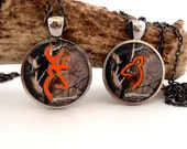 Camo and Orange Buck and Doe Necklace,  Deer Pendant, Couples Jewelry, Rustic Wedding, His Doe Her Buck