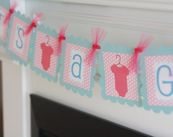 """Pink Blue Hot Pink Polka Dot - """"It's a Girl"""" Bodysuit One Piece Baby Shower Banner - Ask About Party Pack Specials"""
