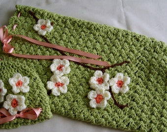 Crochete Newborn Baby Girl Photo Prop  Apple Blossoms Come to bloom READY TO SHIP