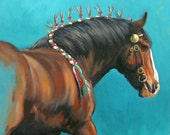 Equine heavy horse LE movement based mounted print 'Ribbons' from an original oil painting individually signed