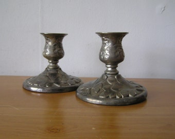 Ornate Floral Silver Plated Candle Stick Holders
