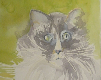 Gray Cat Watercolor on Arches Paper 10X14 inches by Karen Pratt Original  animal painting.