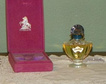 Vintage Shalimar Guerlain 1/4 oz Perfume PARFUM Bottle Scent Purple Velvet box glass Baccarat Paris France