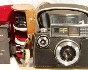 Argus Autronic II Camera - w/ Case, Alpex Lenses, Flash and Original Instructions - Vintage 1964