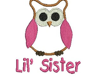 Owl Applique, Little Sister Embroidery Design, Embroidery Designs (522) Instant Download