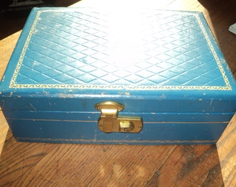 Vintage Teal  Blue Quilted Leather Jewelry Box with Gold Leaf Design, Gold Leaf Initials of LGE with well developed patina in Good Condition