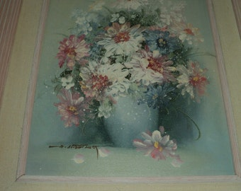 Vintage Original Floral Still Life Composition of A Pink Floral bouquet of White and Pink Daisies in a lovely wooden frame Oil on Canvas Art