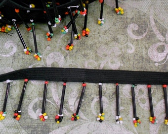 Black Multi Colored Beaded Elastic Trim