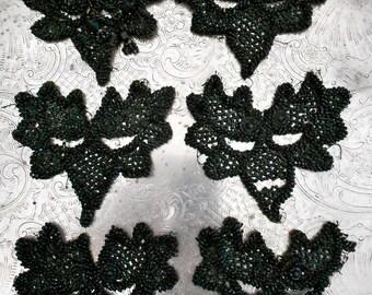 Victorian Black Beaded Floral Appliques