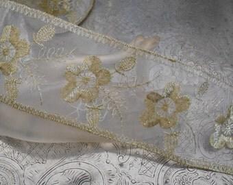 Gold Floral Stitched Trim