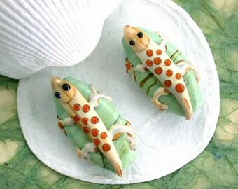 Lizard Lampwork Beads, Glass Beads, Lizzard Beads, Gecko Beads, Reptile Beads, Lampwork Beads, Gecko Lampwork Beads GB-033
