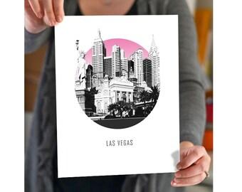 Las Vegas Nevada Circle City Skyline - choose your color - Wall Art - Souvenir - Wedding Gift - Print - Sin City