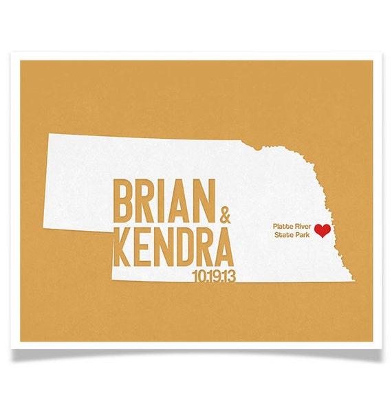 Nebraska Wedding Gift - Personalized State and Heart - Custom Wedding Date - Location City and State Modern Art Print - 8x10 : Omaha